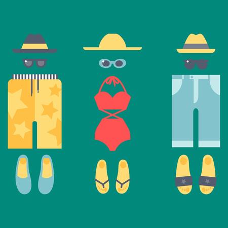 Beachwear bikini cloth fashion looks vacation lifestyle women collection sea light beauty clothes vector illustraton 向量圖像