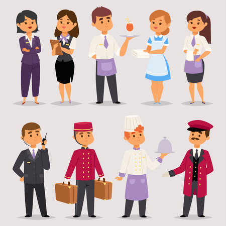 Hotel professions people workers receptionist standing at hotel counter characters in uniform vector illustration.