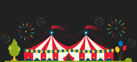 줄무늬와 플래그 서커스 텐트 플랫 벡터