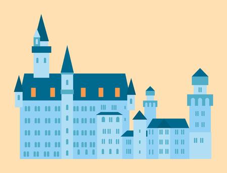 Castle tower tourism travel design famous building euro adventure international vector illustration.