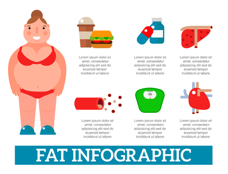 Lose weight by jogging infographic elements and health care concept flat vector illustration Illustration