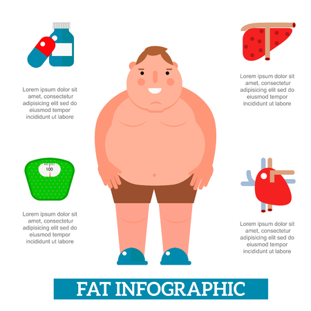 Lose weight by jogging infographic elements and health care concept flat vector illustration. Medical exercise obese people wellness poster layout template