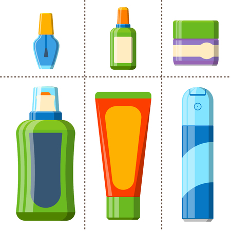 Bath plastic bottle shampoo lotion cream container icons made in modern shower flat style colorful illustration for bathroom vector hygiene design. Sink shower soap beauty packaging.