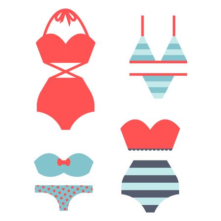 Beachwear bikini doek mode kijkt vakantie lifestyle vrouwen collectie zee licht schoonheid kleding vector illustraton. Reis verschillende vlakke vector mannelijke mannelijke vrouwelijke zwempakpictogrammen.