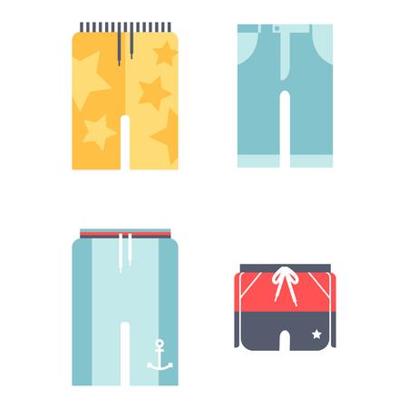 Beachwear bikini doek mode ziet vakantie levensstijl mannen collectie zee licht schoonheid kleding vector illustraton