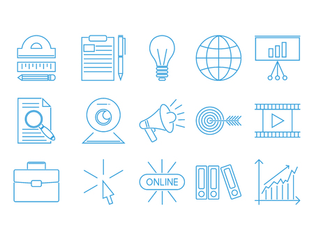 Outline flat design icons for online education video tutorials