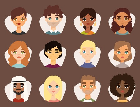Set of diverse round avatars with facial features  イラスト・ベクター素材