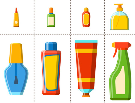 Bath plastic bottle shampoo container shower flat style illustration for bathroom hygiene design.