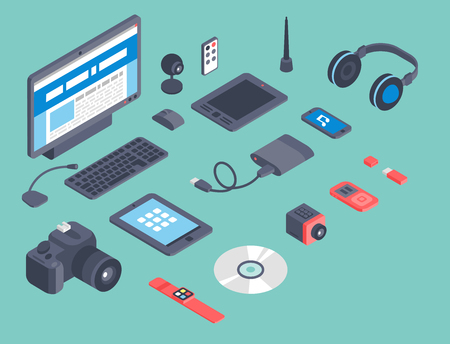 Isometric computer devices icons wireless technologies mobile communication 3d illustration Illustration