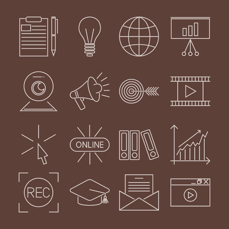 Flat outline icons online education staff training book store distant learning knowledge Illustration