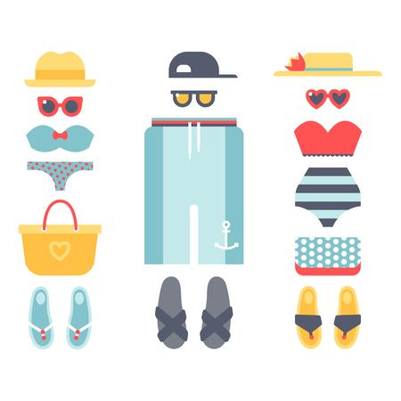 休暇のビーチウェア ビキニの布ファッションに見える  イラスト・ベクター素材