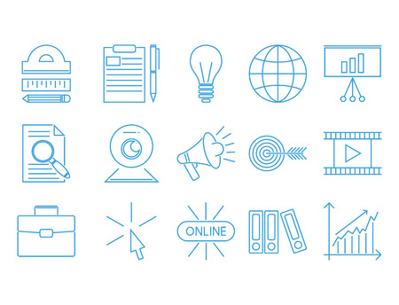 Flat outline icons online education staff training book store distant learning knowledge vector illustration Ilustrace