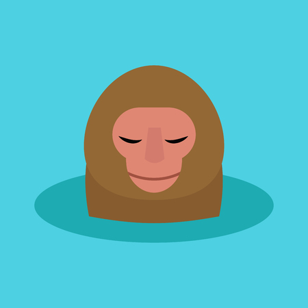 Monkey head character animal illustration on a blue background.