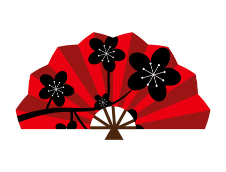 Fan di seta rossa cinese tradizionale asiatica orientale cultura carta accessorio. Vettoriali