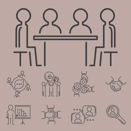 Business teamwork teambuilding thin line icons, Work command management outline human resources sign concept.