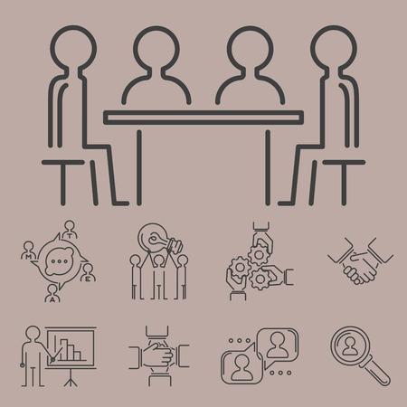 Zakelijke teamwerk teambuilding dunne lijn pictogrammen, werk opdrachtbeheer overzicht human resources teken concept.