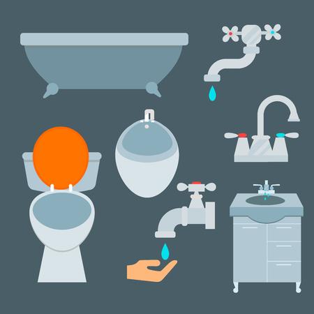 Bath equipment icon set flat style illustration. Illustration