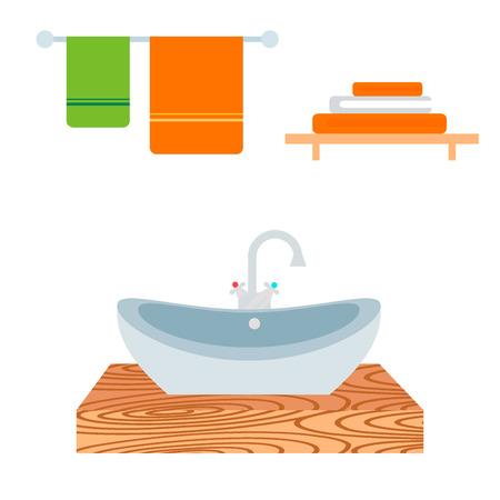 Bathroom icons. Process water savings symbols hygiene washing cleaning beauty illustration.