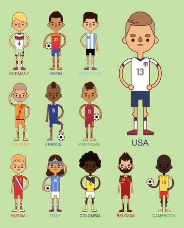 Fútbol de fútbol de fútbol de fútbol de la ilustración de vector de las tarjetas de Foto de archivo - 86540819