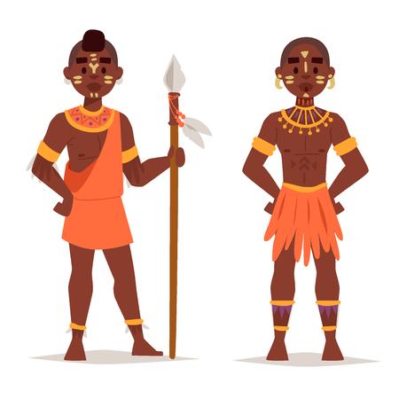 Maasai paar Afrikaanse mensen in traditionele kleding gelukkig persoon families illustratie, Family American volwassen etnische mannen. Stock Illustratie