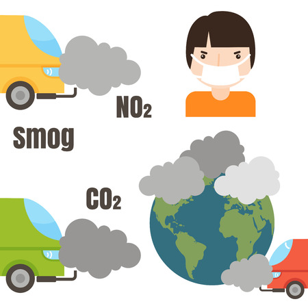 Ecology infographics set with air water and soil pollution charts illustration, Smoke air pollution and factory smog power energy ecology global danger atmosphere.