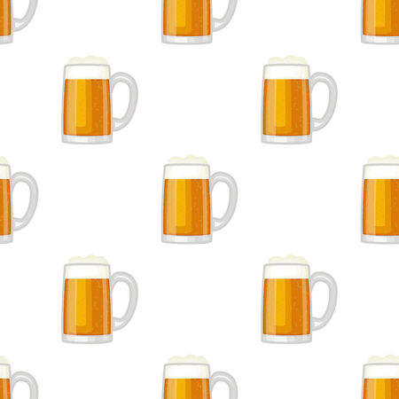 Beer cup glass mug vector seamless pattern background.
