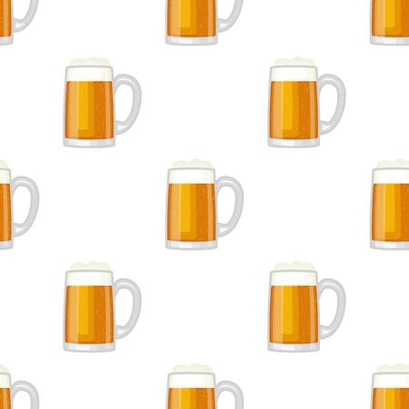 Bier beker glas mok vector naadloze patroon achtergrond.