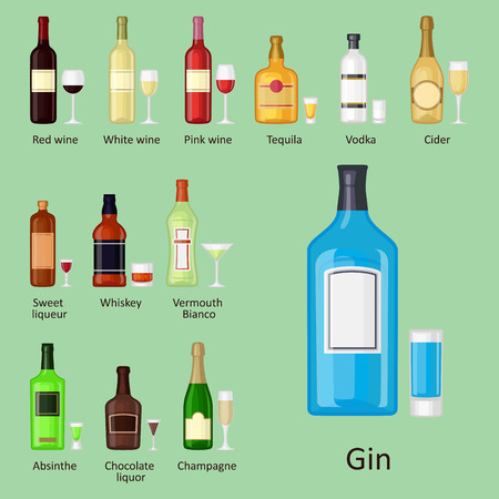 Alcohol drinks vector illustration on a green background.