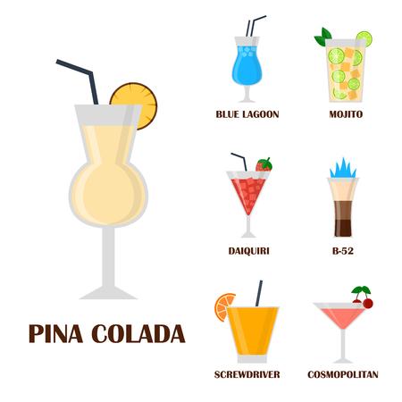 アルコールは飲む飲料カクテル ラガー コンテナー酔って異なるベクトル図です。