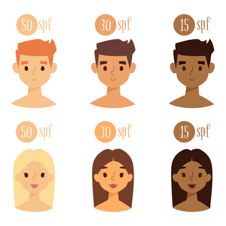 Beach summer suntan characters vector lifestyle people illustration human avatars cute man and woman degree of sunburn.