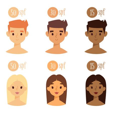 Caractères de plage bronzage été vecteur mode de vie personnes illustration avatars humains homme et femme mignons degré de coups de soleil Banque d'images - 86612130