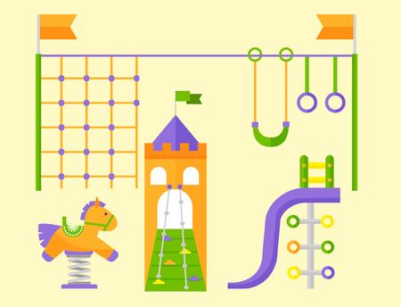 놀이터 놀이 재미있는 유원지 놀이터 일러스트 레이션 장비 유치원 일러스트
