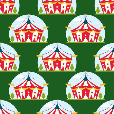 서커스 쇼 엔터테인먼트 텐트 줄무늬 천막 야외 축제 줄무늬와 플래그 카니발 반복적 인 패턴입니다.