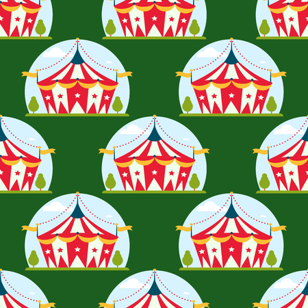 Circus show entertainment tent marquee marquee outdoor festival with stripes and flags carnival repetitive pattern. Illustration