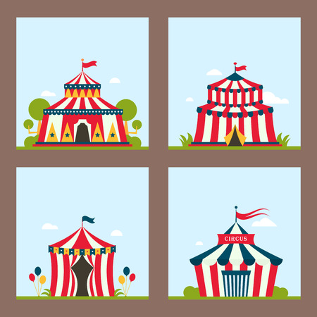 Circus show entertainment tent marquee marquee outdoor festival with stripes flags flayer brochure carnival card