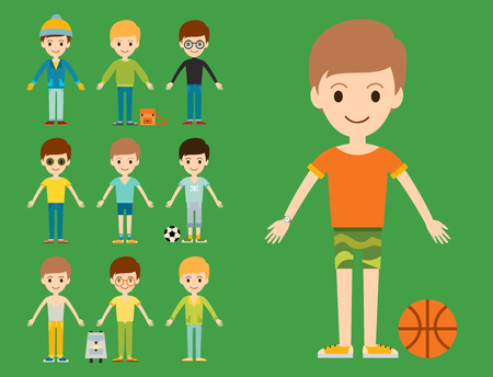 Group of young kid portrait friendship man character team happy people boy person illustration.