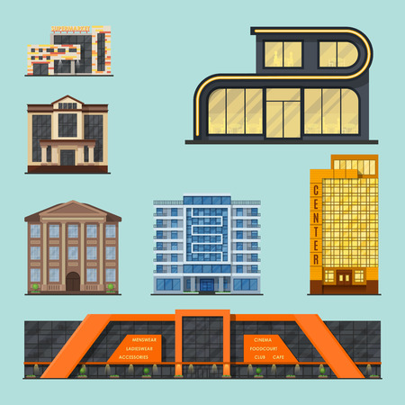 City buildings modern tower office architecture house business apartment home facade illustration Illustration