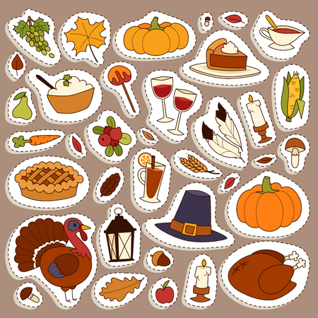 Happy Thanksgiving Day icons set for family celebration