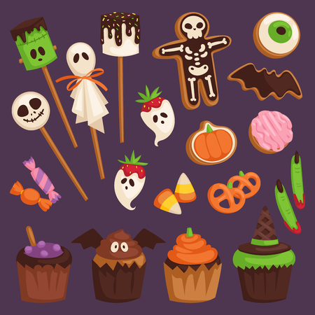 Halloween cookie cake symbols of food for creepy party illustration