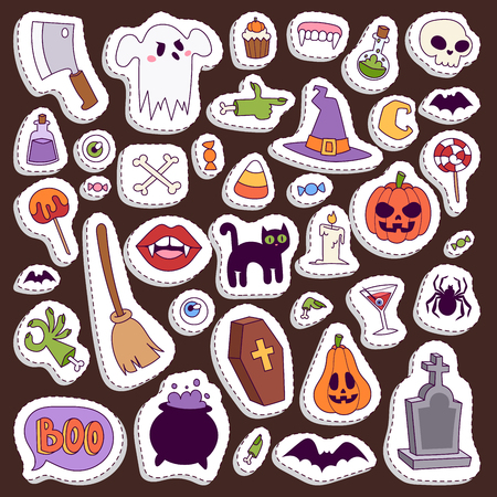 Halloween Night creepy symbols icons  collection illustration