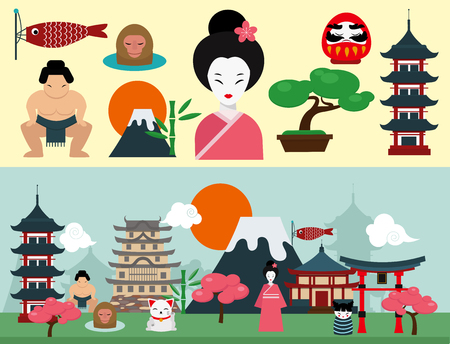 Japan landmark travel icons collection Çizim