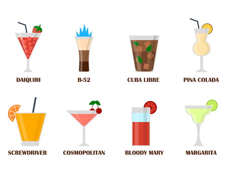 Alcohol drinks different glasses