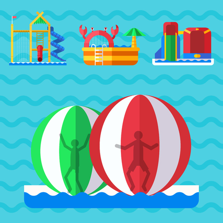 Aqua park playground with slides and splash pads for family Illustration