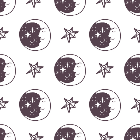 Hand drawn magic moon and stars pattern