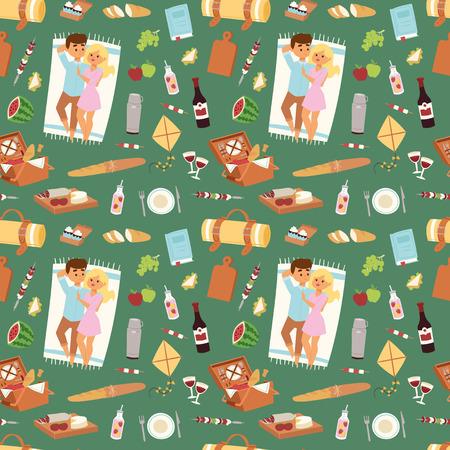 pareja comiendo: Resting couple in a picnic pattern