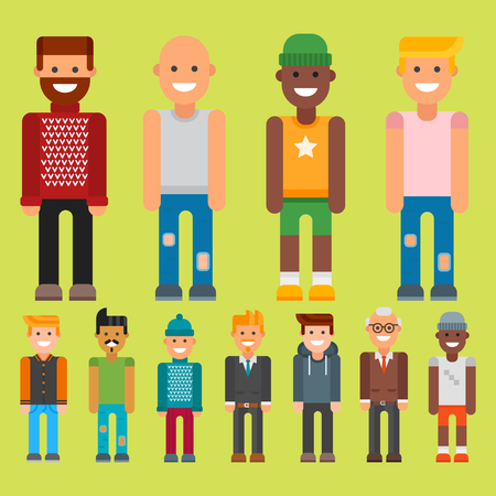 Group of men portraits with different nationality Illustration