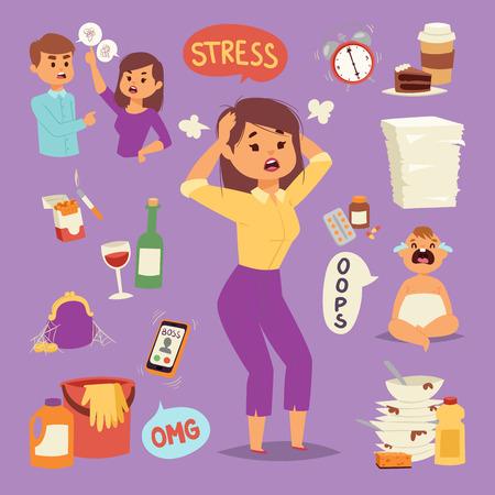 Illustration of funny brunette stressed woman
