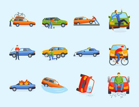 車のクラッシュの衝突。  イラスト・ベクター素材
