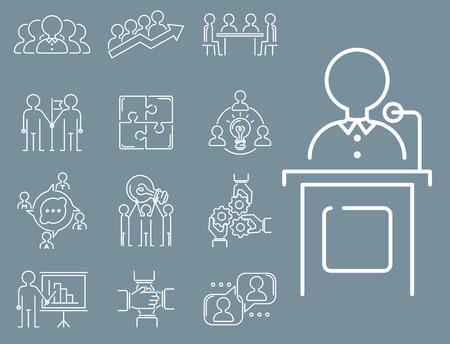 Business teamwork teambuilding thin line icons work command management outline human resources concept vector illustration Illustration