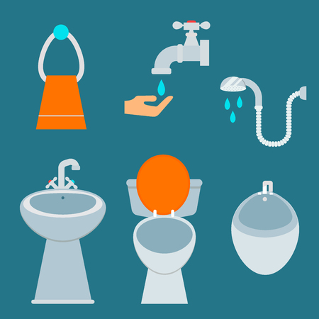 Bath equipment icon toilet bowl bathroom clean flat style illustration hygiene design. Stock Vector - 86819231